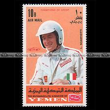 ★ LUDIVICO SCARFIOTTI Pilote F1 Formule 1 ★ YEMEN 1969 Timbre Auto Car Stamp #4