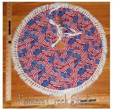 "USA FLAG Americana Handmade Mini Tree Skirt, 20"" dia, Flags, patriotic,July 4th"
