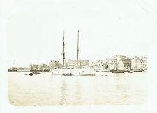 Photographie 12x17cm : Le Havre ; Goélette Italienne sortant du port , vers 1900