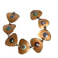 Kay Denning Modernist Mid Century Enamel Multicolor Bracelet Gold Millefiori