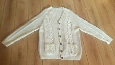 Mens Aran Wool Cardigan Sweater 48 Hand Knit XL Long Button V White Cable Paddys