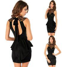 Sexy Black w Lace Peplum Sleeveless Dance Party Cocktail Dress Ladies Sz M 10 12