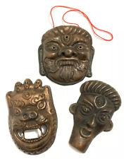 Antique Copper Mask Demon Halloween Art Decor Miniature Noh Netsuke Japanese Set