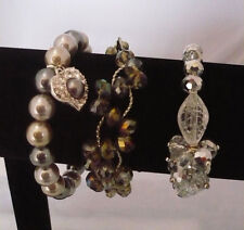 lot 3 bracelets - 2 Avon stretch- crystal beads & grey& black faux pearls +1