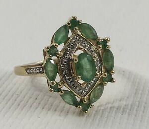 Vintage 14k Yellow Gold Emerald & Diamond Cluster Cocktail Estate Ring Sz 9
