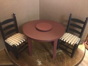 American Girl Pleasant Company Addy Lazy Susan Table & Chairs EUC RETIRED