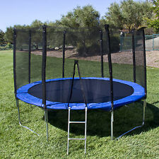 BCP 15' Round Trampoline 5 Legs Frame With Safety Enclosure, Padding & Ladder