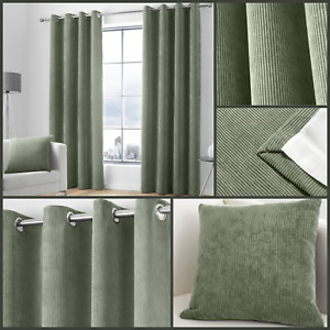 Appletree Khaki Kilbride Cord Textured Fully Lined Eyelet Ring Top Curtains Pair