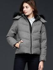 GAP PrimaLoft faux fur-trim wool puffer jacket Sz S Gray