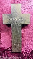"""Museal ! Granit Grabkreuz """"AUF WIEDERSEHN !"""" eines Weltkrieg Soldaten ! 71x40 cm"""