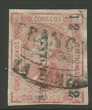 """stamps-mexico. 1872. 25C Red, watermarked. """"Gustavo"""" Name SG: 89f. Fu"""