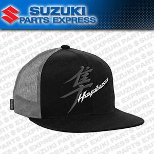 NEW SUZUKI HAYABUSA KANJI TRUCKER MESH HAT CAP BLACK GREY SNAP BACK 990A0-17157
