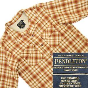 Pendleton Board Shirt Large 100% Wool Plaid Beige Rust Ombre Recent 2015 Retro