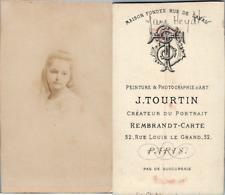 Tourtin, Paris, Petite fille nommée Jane Heydt, circa 1875 CDV vintage albumen -