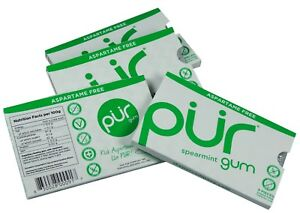 PUR Gum Spearmint Blister 9 Pieces (Pack of 4) - Aspartame Free