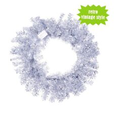 "24"" Silver Tinsel Christmas Wreath - Unlit Home Decor Retro Vintage Style"