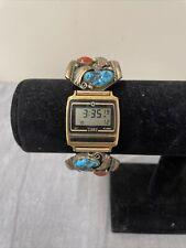 Vtg Albert J Platero Navajo Handmade Chunky Turquoise Timex Watch One of Kind FS