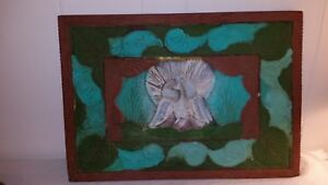 """Vintage Hand Carved Wood Plaque Peacock Panel 21"""" by 15"""""""