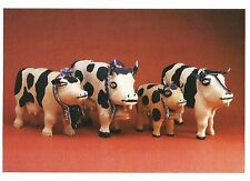 Postcard Carved Wood Cows Charmey Switzerland Museum of Int'l Folk Art Nm Mnt