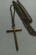 "A Large Cross Bronze Tone Charm Pendant, Long ( 30"" ) Chain Necklace"