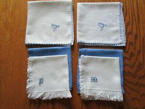 Mixed Lot 6Vintage Blue & White Napkins Monogrammed M, P, A