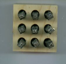 Steel 1//8 Character Size Young Bros 03092 9 Piece Hand Cut Stamp Figure Set