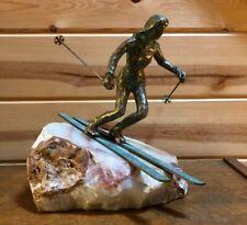 Vintage Curtis Jere skier quartz sculpture pink marble stone rock