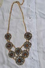 Neu Messing Halskette mit Kupfer 51 cm lang indischer Schmuck tricolour Optik