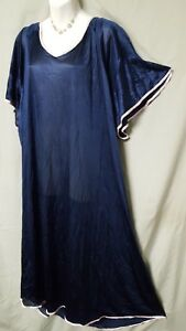 """COMFORT CHOICE Blue Nightgown Long Short Sleeve Sexy Plus Size 5X   80"""" BUST"""