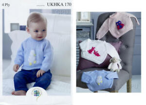 UKHKA 4ply 170, Knitting Pattern for Cute Children's Embroidered Sweaters