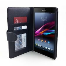 Sony Xperia Z ULTRA Litchi Skin PU Leather Wallet Case Cover - Black