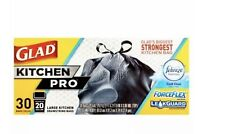 GLAD FORCEFLEX KITCHEN PRO 20 GAL DRAWSTRING TRASH BAGS, 30 COUNT, NEW