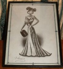 VINTAGE M LOUEY ETCHING/ PRINT OF EDWARDIAN LADY