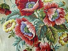 Vintage Preworked TAPESTRY NEEDLEPOINT CANVAS Floral Flowers Chair