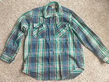 Five Brother Colorful Plaid Flannel Work Shirt Sz Large Heavy Cotton Nice!