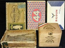 Vintage Cigar Box Collection Of 5-White Owl, 44, Toothpick Cigars...