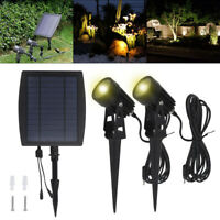 2X Solar Powered LED Spot Lights Garden Yard Lamps Waterproof Outdoor Spotlights