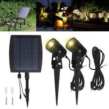 2X Solar Powered LED Spot Lights Garden Yard Lamps Waterproof Outdoor Spotlights