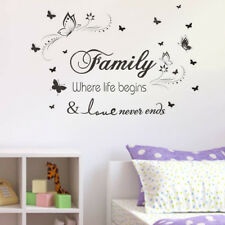 Family Quote Wall Sticker Art Decal Mural Paper Butterfly Vines Home Decor AM5X