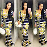 2016 New Women Printed  Long Sleeve Bodycon Maxi Clubwear Party Cocktail Dress