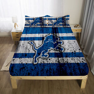 Detroit Lions Deep Pocket Fitted Sheet 3PCS Bed Sheet Pillowcases Bedding Set