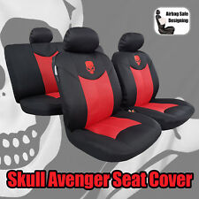 Red Black Air Spacer Mesh Skull Punisher Airbag Seat Covers Front & Split Rear