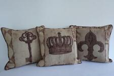 Set of 3 French Provincial Piped Trims Quality Linen Look Cushion Covers 45cmn