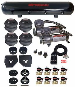 """Air Ride Suspension Kit 3/8"""" Valves Blk 7 Switch Bags Tank For 1963-72 Chevy C10"""