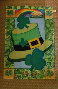 "Evergreen St. Patrick's Day House Flag - 28"" x 42"" Shamrocks Leprechauns Rainbow"