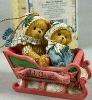 ENESCO CHERISHED TEDDIES CHRISTMAS ORNAMENT BUNDLE UP FOR THE HOLIDAYS VINTAGE