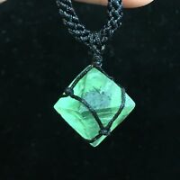 Natural Fluorite Octahedral quartz Pendant Crystal reiki point Healing 1PC