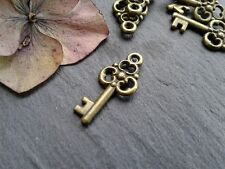 Antique Bronze Key Charms 20pcs Design 5 Steampunk Vintage Gold Pendants Kitsch