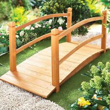More details for large solid arched wooden garden bridge patio decor outdoor pathway furniture