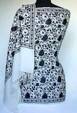 Kashmir Wool Shawl Black-on-White Crewel Embroidered Chinar Leaf Miotif Pashmina